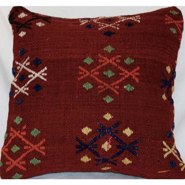 Vintage Handmade Wool Decorative Boho Pillow For Sale - Image 4 of 7