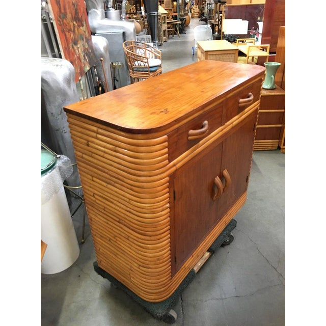 Restored Stacked Rattan Storage Cabinet With Mahogany Top For Sale - Image 4 of 6