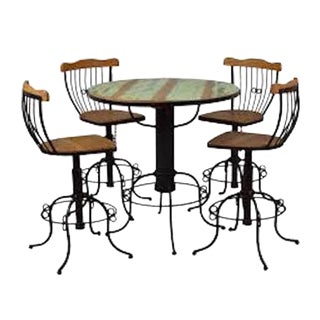 Rustic Green Reclaimed Wood Bistro Set - 5 Pieces For Sale