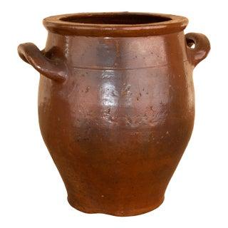 Vintage French Handled Earthenware Pot For Sale