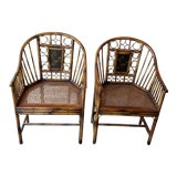 Image of Pair of Bamboo Armchairs With Chinoiserie Panels For Sale