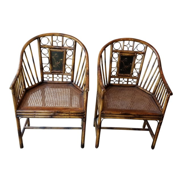 Pair of Bamboo Armchairs With Chinoiserie Panels For Sale