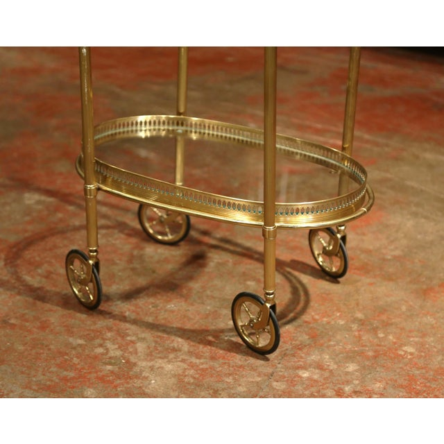 Early 20th Century, French Oval Brass Dessert Table or Bar Cart on Wheels For Sale - Image 4 of 9