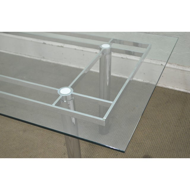 Silver Mid Century Modern Chrome Base Rectangular Glass Top Dining Table For Sale - Image 8 of 13