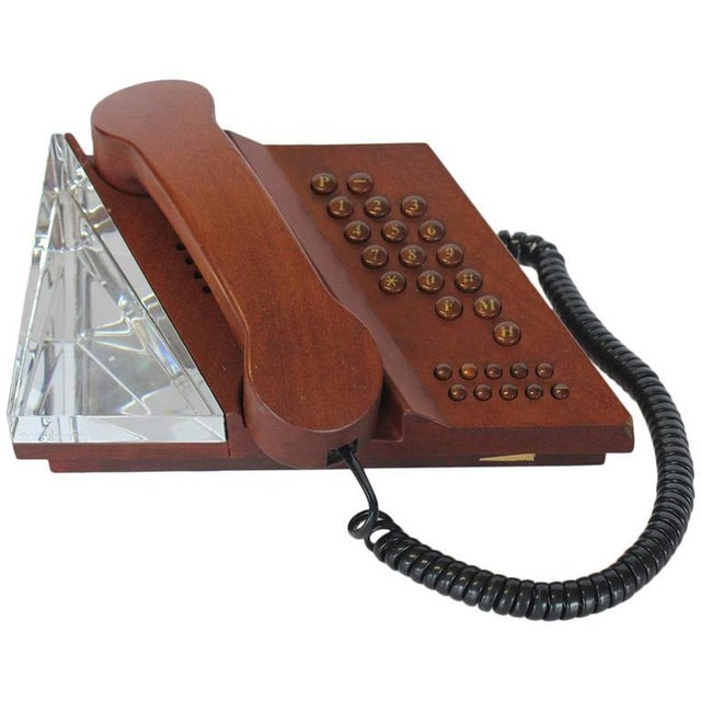 1960s Swedish Mahogany & Orrefors Crystal Phone For Sale - Image 5 of 5