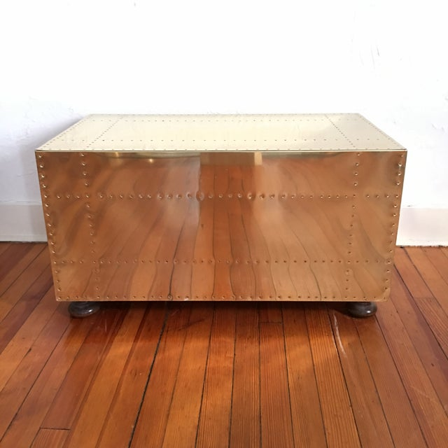 Sarreid LTD Brass 2 Drawer Trunk or Coffee Table For Sale - Image 10 of 11