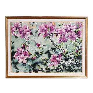 """1970s Vintage """"Flowering Tree"""" Watercolor Painting by William Garbe For Sale"""