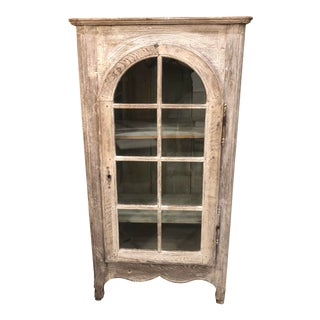 Antique Bleached Oak French Vitrine Display Cabinet For Sale