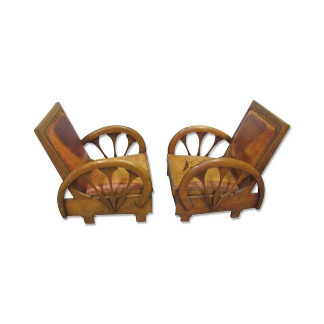 Carved Wood & Leather Lounge Chairs For Sale - Image 4 of 12