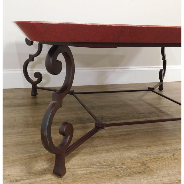 Square Red & Gold Tray Coffee Table on Iron Scroll Legs and Frame For Sale - Image 11 of 12
