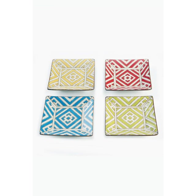 Hand painted Moorish style appetizer plates. Sky blue; lime green, yellow, and red. Bring color to your table and serve up...