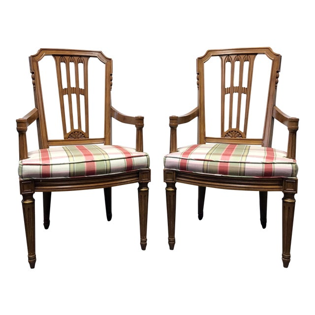 Henredon Capri Mid Century Italian Provincial Neoclassical Dining Captain's Arm Chairs - Pair For Sale