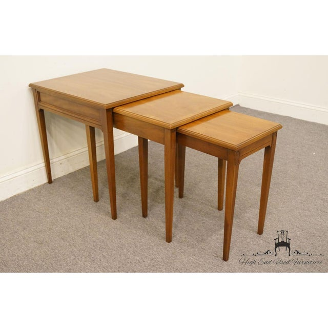 Late 20th Century Heritage Solid Ash Italian Neoclassical Nesting End Tables - Set of 3 For Sale - Image 5 of 12