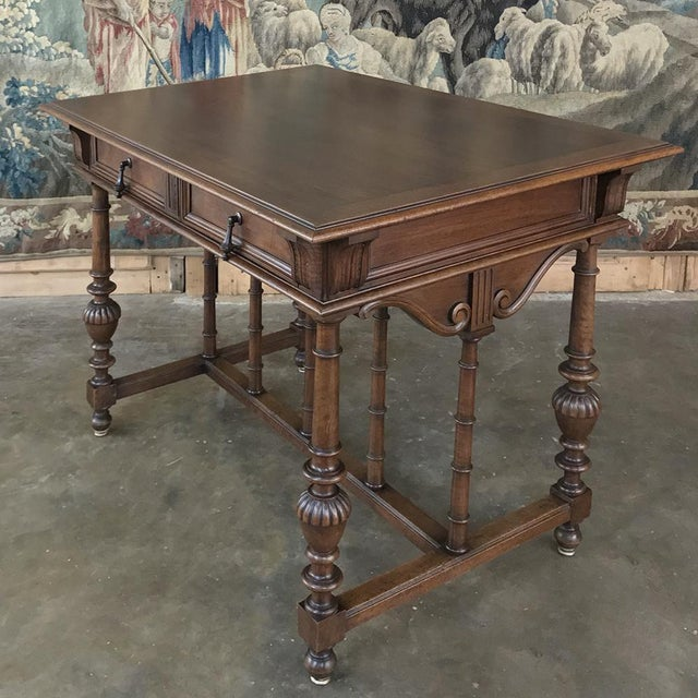 19th Century French Henri II Walnut Writing Table For Sale - Image 10 of 13
