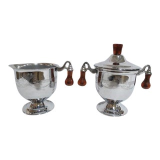 Vintage 1950s Mid-Century Modern Chrome Creamer and Sugar Set - Set of 2 For Sale