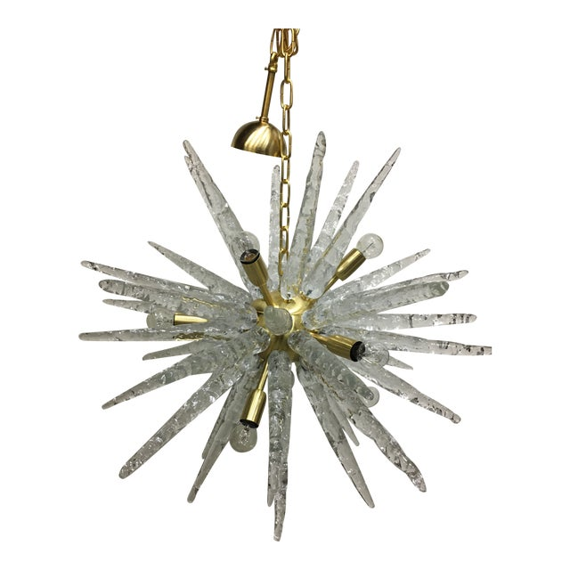 Murano Glass Sputnik Metal Frame Gold Brushed Chandelier For Sale