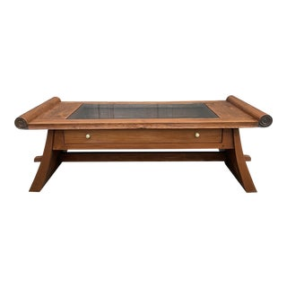 Vintage Solid Wood Winged Coffee Table For Sale