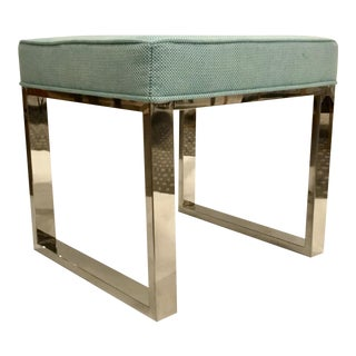 Port 68 Modern Teal and Nickel Bench For Sale