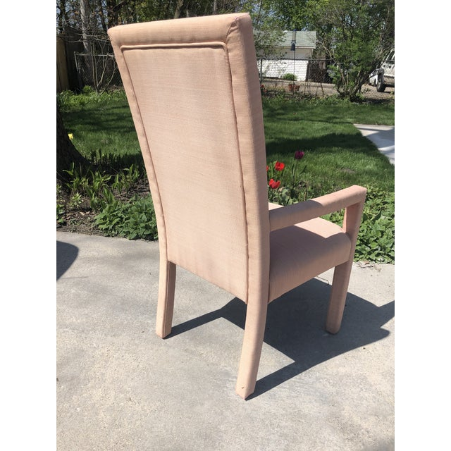 1970s Vintage Hollywood Regency Upholstered Parsons Chair For Sale - Image 12 of 13