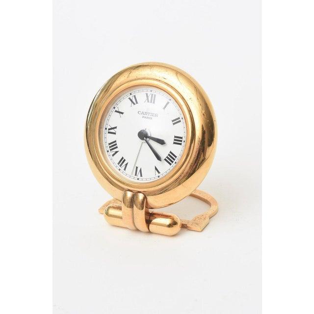 Cartier Cartier 24 Karat Gold Plated Travel Quartz Desk Clock/ Desk Accessory For Sale - Image 4 of 11