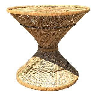 70s Boho Rattan Hourglass Dining Table