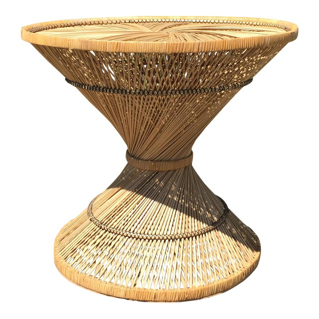 70s Boho Rattan Hourglass Dining Table For Sale