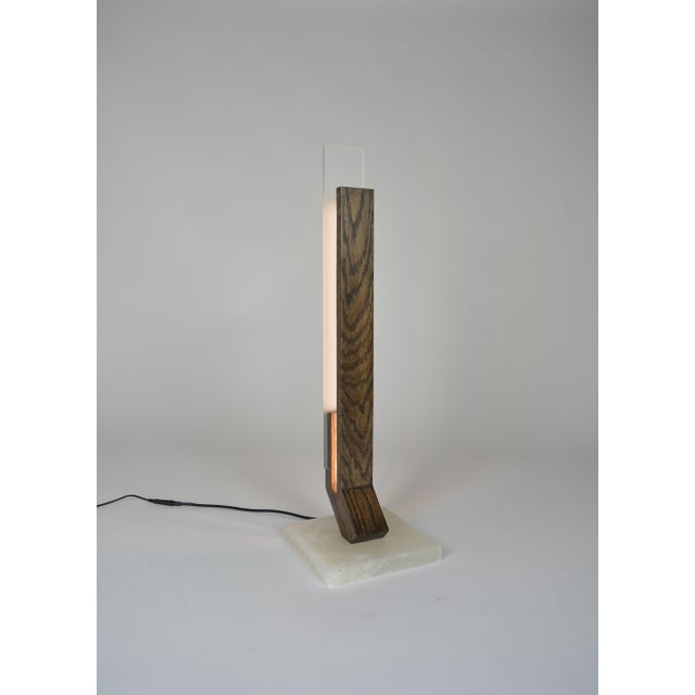 Offset - Oak Alabaster Base Led Table Lamp For Sale - Image 4 of 5