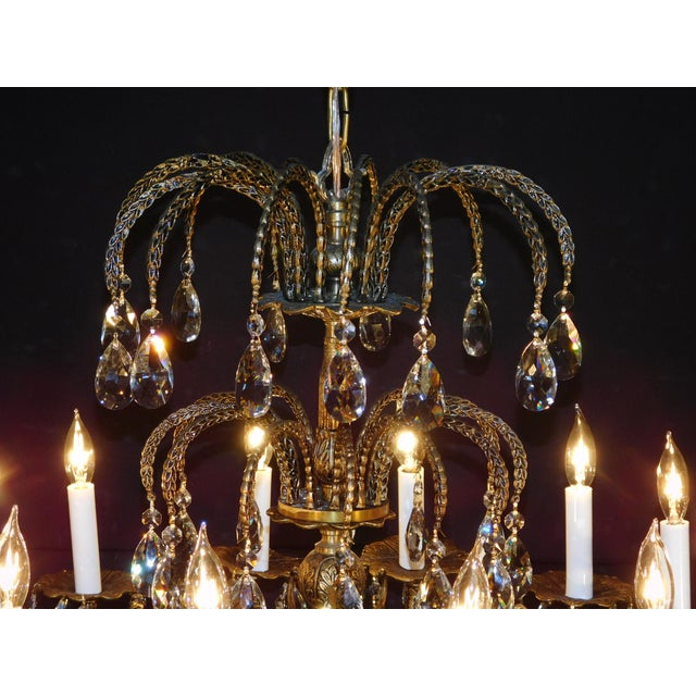 Antique French Brass Cut Lead Crystal Chandelier For Sale - Image 9 of 13