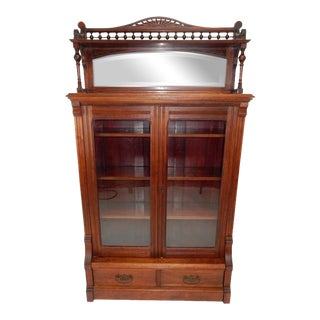 Antique Victorian Eastlake Walnut Bookcase For Sale