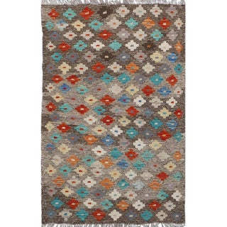 "Grey and Multicolor Pakistani Handwoven All Wool Colorful Reversible Kilim - 2'8"" X 4' For Sale"
