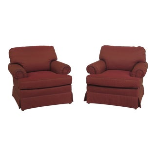 1990s Vintage Wesley Hall Upholstered Living Room Chairs- A Pair For Sale
