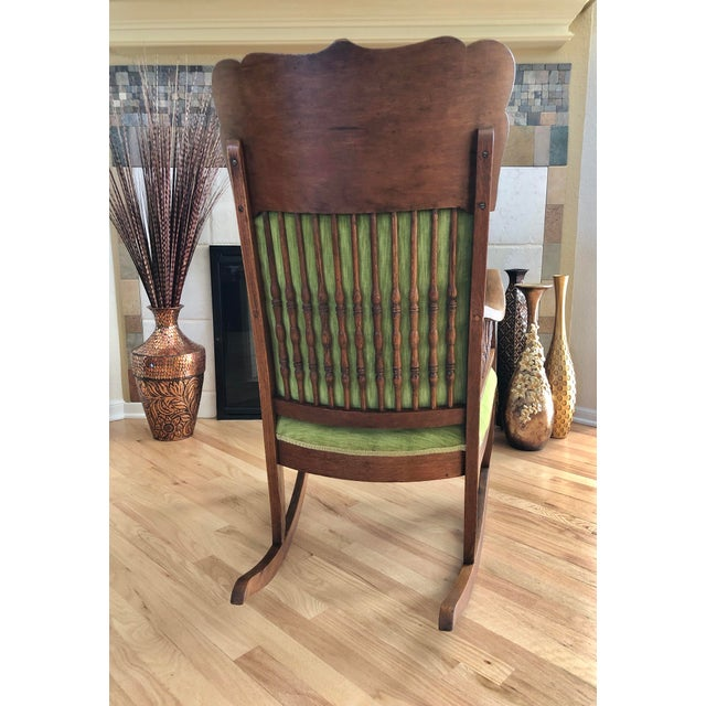 Late 19th Century Antique Oak Wood Mortise and Tenon Upholstered Rocking Chair For Sale - Image 4 of 13