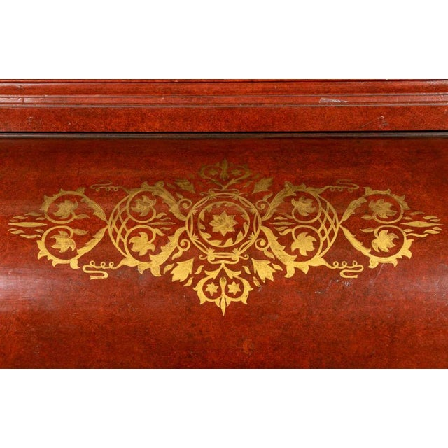 19th Century Biedermeier Continental Faux Bois Painted Pine Cylinder Secretary Bookcase For Sale - Image 11 of 12