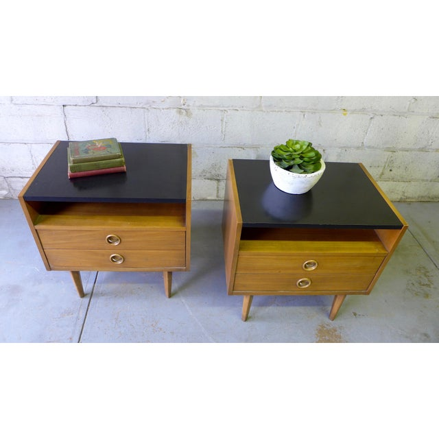 American of Martinsville Mid-Century Walnut Nightstands - A Pair - Image 7 of 7