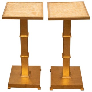 Pair of Marble Gold Leaf Accent Tables For Sale