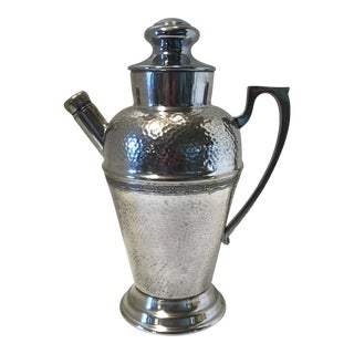 1930s Hand Hammered Tea Pot Style Silver Plated Over Nickel Silver Cocktail Shaker For Sale