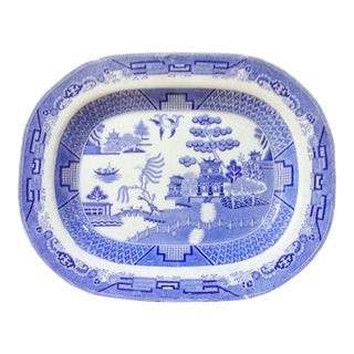 English Chinoiserie Blue & White Platter For Sale