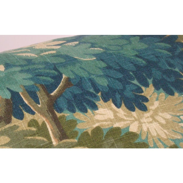 Olive Verdure Print Linen Large Lumbar Pillow Cover For Sale - Image 8 of 11