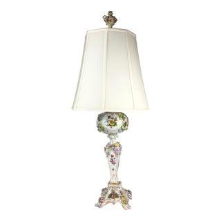 Carl Thieme Potschappel Dresden Porcelain Table Lamp- Rococo For Sale