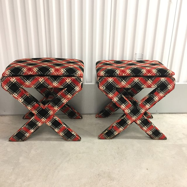 Fun pair of velvet plaid X benches or footstools. Perfect for additional seating and fabric is in good vintage condition...