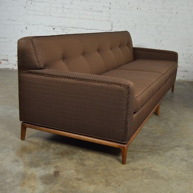 Mid-Century Tufted Tuxedo Sofa on Walnut Base - Image 3 of 10