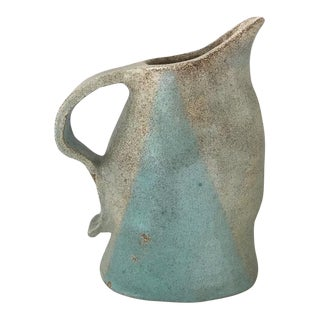 Vintage Pottery Pitcher - Organic Form For Sale
