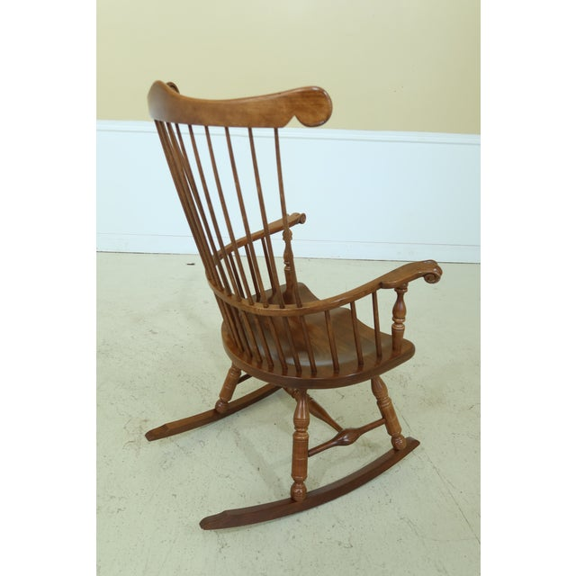 Frederick Duckloe Cherry Fan Back Windsor Rocking Chair For Sale - Image 4 of 10