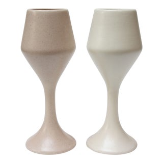 Pair of Large Haeger Ceramic Goblets / Chalices in Pink and White For Sale