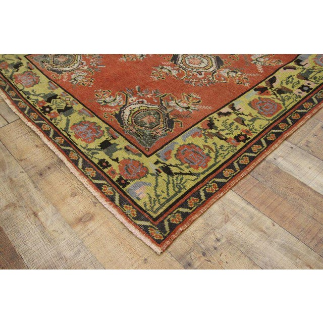 Textile Vintage Turkish Oushak Gallery Rug Runner - 4'6 X 9'6 For Sale - Image 7 of 8