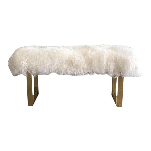 Hollywood Regency Large Mongolian Sheepskin and Brass Bench For Sale
