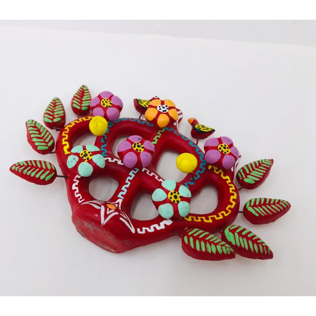 Clay Hand Crafted Mexican Tree of Life Candelabra For Sale - Image 7 of 8