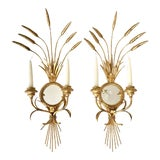 Image of Vintage Decorative Gold Leaf Wall Sconces - a Pair For Sale