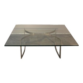 Mid-Century Chrome Base & Glass Top Coffee Table For Sale