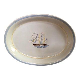 Mid-Century Vintage Arabia Finland Handpainted Sailboat Serving Platter For Sale